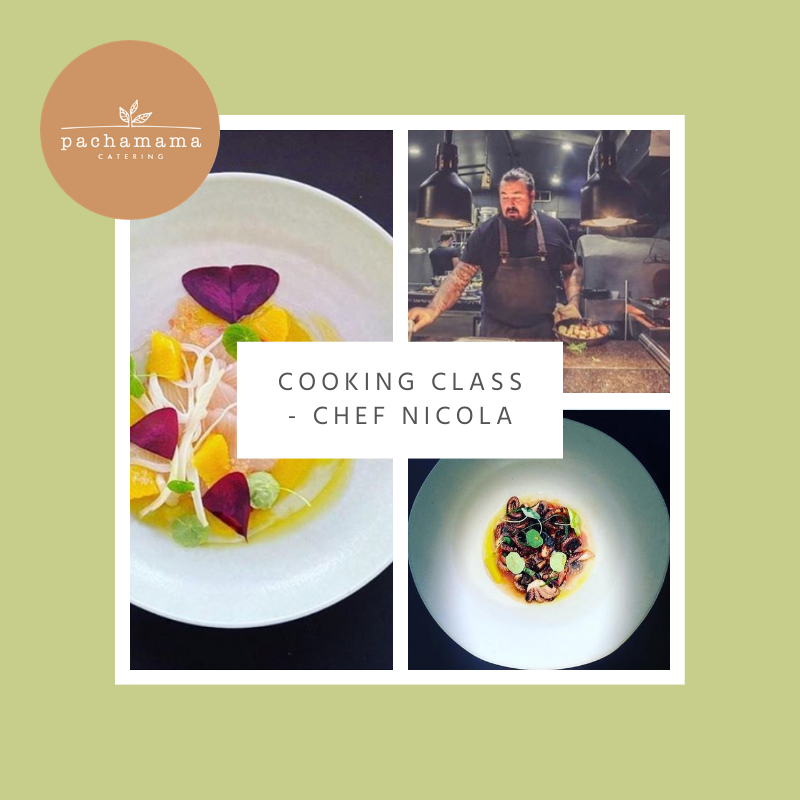 """Composite image design, plated gourmet meals, Chef Nicola in the kitchen. Text reads """"Cooking Class - Chef Nicola"""""""